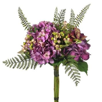 "Silk Hydrangea and Berry Bouquet in Plum - 14"" Tall"
