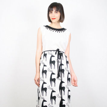 Vintage 60s Dress Black White Maxi Dress Antelope Print Animal Novelty Print Skirt Grecian Gown Dress Beaded Hippie Dress Mad Men L Large XL