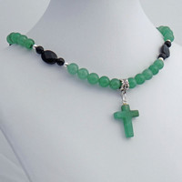 Green Aventurine Stone Cross Pendant with Green Aventurine and Faceted Black Onyx Necklace