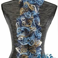 Limited Time...soft Hand-knit Lacy Ruffled Scarf.perfect for Gift Giving. Color: Blue Sky