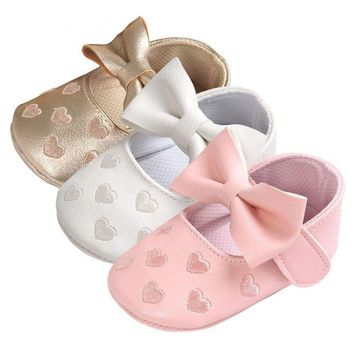 Baby PU Leather Moccasins Bow Fringe Soft Soled Crib Shoes / 12 color choices