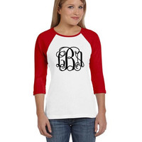 VINYL 3/4 Sleeve Raglan Baseball Tee T-shirt Shirt Monogram, Name, Team, or Text