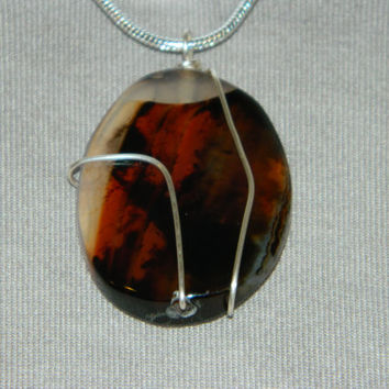 75ct. Brown & Clear Stone, Semi Precious, Agate, Pendant, Necklace, Oval, Natural Stone, 154-15