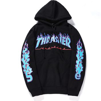 """Thrasher"" Casual Print Pattern Long Sleeve Hoodie  Top Sweater Sweatshirt"