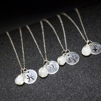 Tiny Moonstone Necklace - Zodiac Necklace | Hand Stamped Zodiac Symbol Charm Necklace | Tiny Silver Necklace