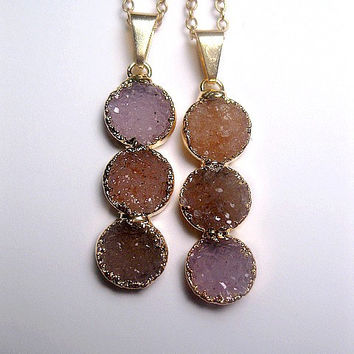 Druzy Necklace - Multi Color Circle Cascade