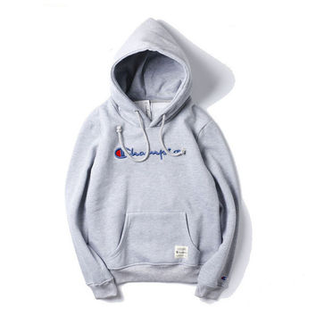 Champion title logo three-dimensional embroidery sweethearts outfit fleece and wool thickening hooded fleece Black