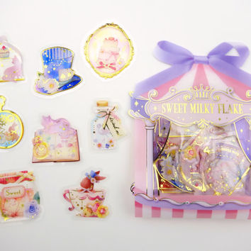 Japanese Alice in Wonderland crystal sticker flakes - whimsical tea party - mad hatter - Cheshire cat - March Hare - bunny rabbit - sweets