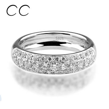 Cc&byx Trendy Cubic Zirconia Round Rings For Women