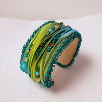 Shades of Green Autumn Color Shibori Silk Cuff Bracelet with Swarovski beads, OOAK bracelet