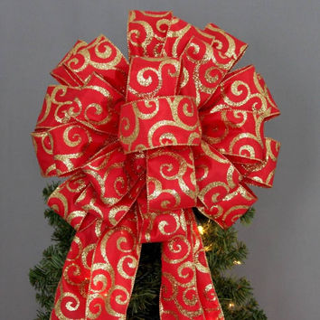 Red Gold Glitter Swirl Christmas Tree Topper Bow