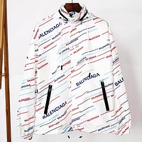 Balenciaga 2019 new color oblique LOGO printed hooded trench coat white