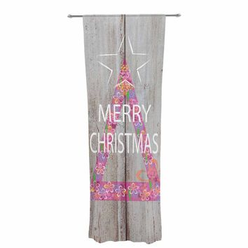 "Suzanne Carter ""Merry Christmas Tree"" Pink Holiday Mixed Media Decorative Sheer Curtain"