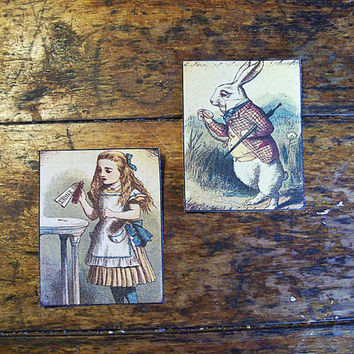 Alice in Wonderland patch set retro vintage victorian fairy tale fantasy white rabbit sew on patch