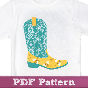 Western Cowboy boots applique tempate PDF - for baby girls and boys