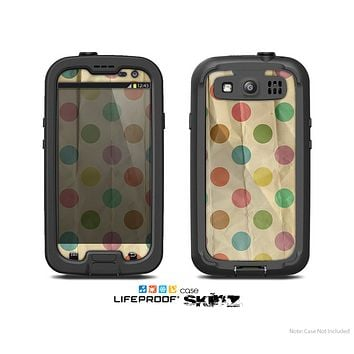 The Vintage Tan & Colored Polka Dots Skin For The Samsung Galaxy S3 LifeProof Case