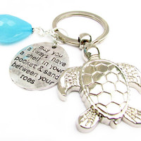 Shell in Pocket Keychain, Sea Turtle Keychain, Turtle Keychain, Beach Keychain, Car Accessory