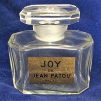 Joy Crystal Glass Perfume Bottle, Empty Jean Patou Container France,  Gold Painted Print Label,Signed Artist, Vintage Vanity Accessory 618m