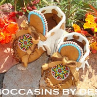Baby Moccasins By Desi, For Boy or Girl, Soft buckskin leather with Rugged edges.