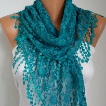 BIG SALE Lace Scarf -  Shawl Scarf Women Scarves Cowl Scarf Bridesmaid Gift - fatwoman