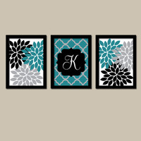 Teal Black Wall Art Flower Wall Art Bedroom Wall Art Quatrefoil Bathroom Wall Art Home Decor Entry Way Wall Art Prints Set of 3 Wedding Gift