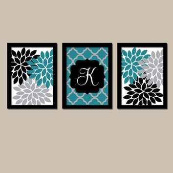 Teal Black Wall Art Flower Wall Art Bedroom Wall Art Quatrefoil Bathroom  Wall Art Home Decor