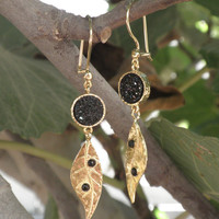 Black Druzy Earrings - Gold Plated Over Brass Leafs Earrings Nature Fashion Jewelry Christmas Goft