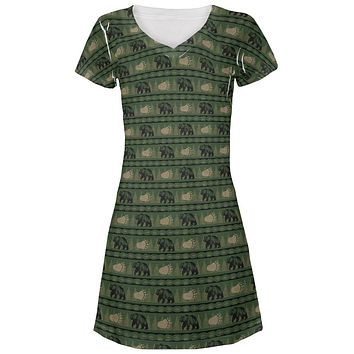 Grizzly Bear Adirondack Pattern Green Juniors V-Neck Beach Cover-Up Dress