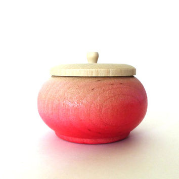 Neon pink ombre jewelry box, wood jewelry box, tiny box, round wood box, gradient pink