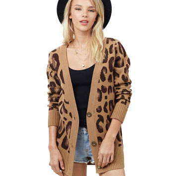 Brown Leopard Print Cardigan
