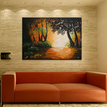 28 inch Original textured acrylic painting of deep Forest Trees on canvas Landscape Wall Art