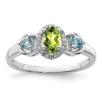 Sterling Silver Oval Peridot And Blue Topaz Diamond Halo Ring