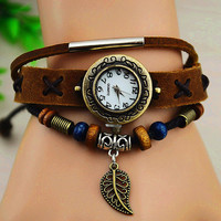 Vintage Metal Leaf Leather Wrap Watch