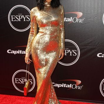 Kylie Jenner 2019 High Neck Long Sleeves Golden Sequin Lace Mermaid Long Sexy Red Carpet Dress Celebrity Gown