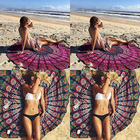 Indian Round Mandala Tapestry Wall Hanging Throw Towel Beach Mat Decor Boho Beach diameter150cm