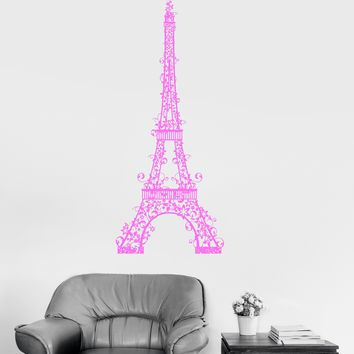 Wall Vinyl Sticker Eiffel Tower Decor Paris France Beautiful Art Room Unique Gift (ig3062)