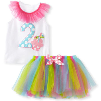 Fashion Baby Clothing Sets 2pcs Baby Christening Clothes T-shirt + Mesh Tutu Skirt Baby Girl Suits Princess Toddler Girl Clothes