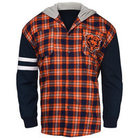 Chicago Bears Official NFL Mens Lightweight Flannel Hooded Jacket