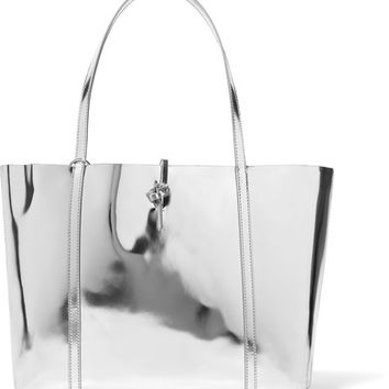 Kara - Tie mirrored-leather tote