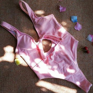 Fashion Women Chest Knot Belly Holes One Piece Bikini Swimsuit(3 Color) Pink
