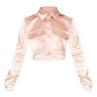 Blush Satin Cropped Military Button Shirt