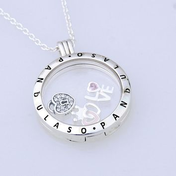 Pandulaso Forever love Petites Large Floating Locket Necklace & Pendant for women DIY necklace 925 sterling silver jewelry chain