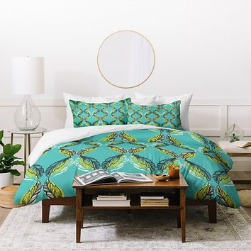 Pattern State Feather Aquatic Duvet Cover