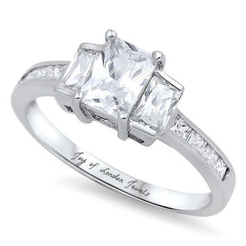 A Perfect 2CT Emerald Cut Russian Lab Diamond Engagement Wedding Anniversary Ring