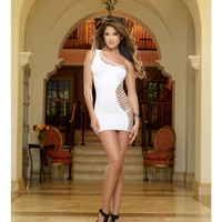 Seamless One Shoulder Dress W-asymmetric Fishnet Curve Design & G-string White O-s