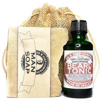 Bearded Man Set, 100% Natural Beard Oil and Beer Soap Gift For Him For Men