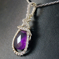 Amethyst hanger, sterling zilver, wire wrapped