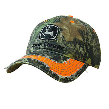 John Deere Men's Camo with Reflective Orange Accent Cap