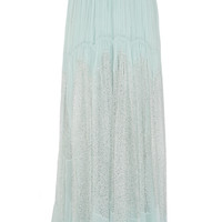 Chloé - Lace-paneled crinkled silk-georgette maxi skirt