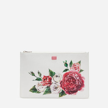 Women's crossbody bags and shoulder bags | Dolce&Gabbana - PEONY-PRINT TUMBLED CALFSKIN POUCH